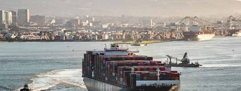 Cargo ship leaving Port of Oakland