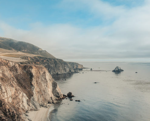 Photo of the California coastline and ocean