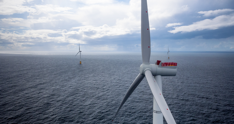 Offshore windmills on a cloudy day, looking over the North Sea in Scotland